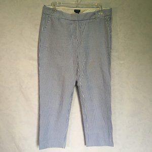 J. Crew Seersucker blue white crop length pants